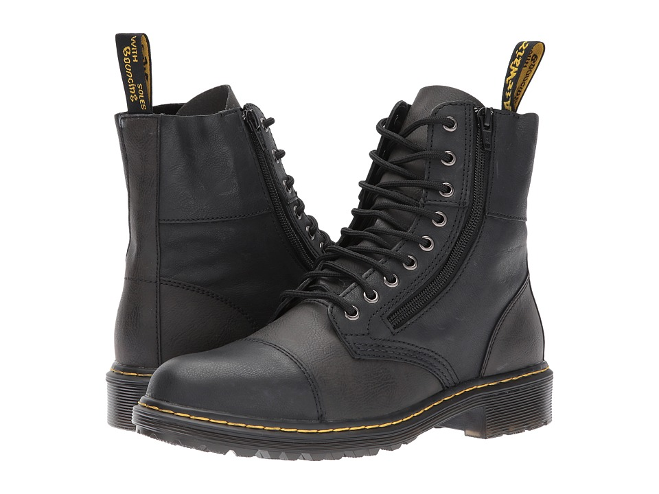 Dr. Martens Denton 9-Tie Boot (Black Vancouver Synthetic/Black Low Down) Men