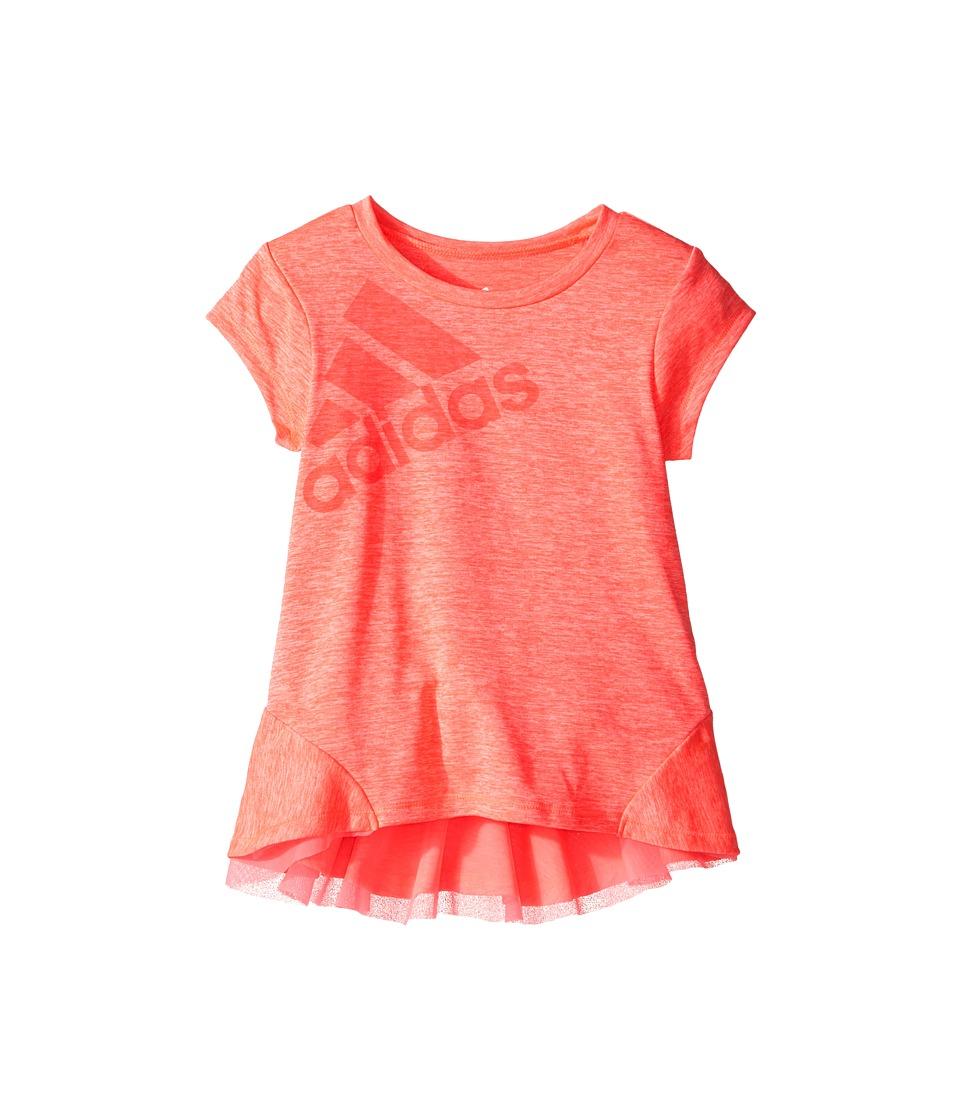 adidas Kids - Performance Melange Top (Toddler/Little Kids) (Bright Red) Girl's Short Sleeve Pullover