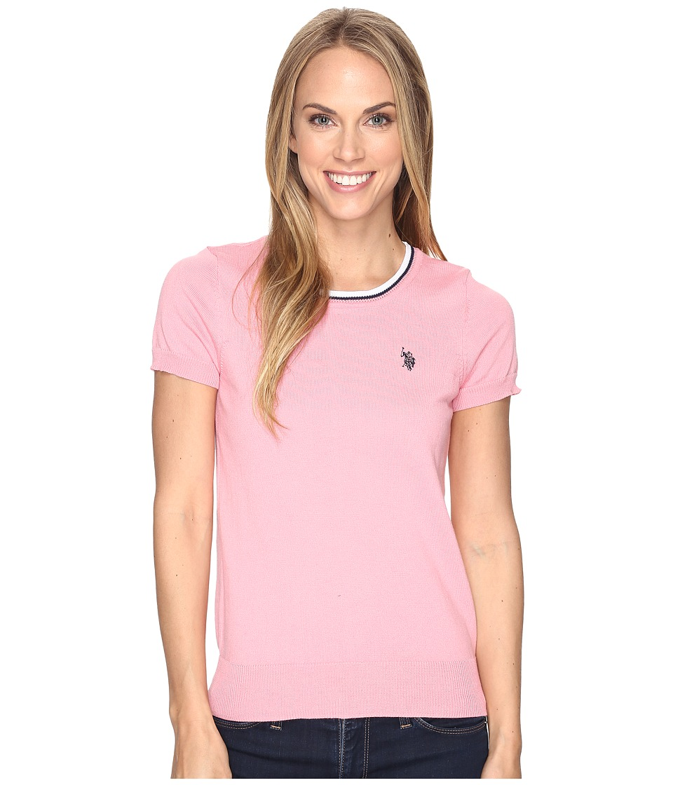U.S. POLO ASSN. - Short Sleeve Scoop Neck Sweater (Geranium Pink Combo) Women's Sweater