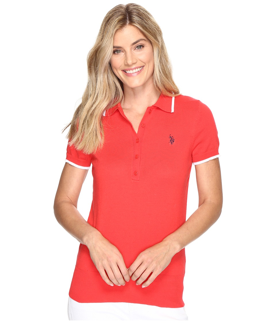 U.S. POLO ASSN. Short Sleeve Solid Polo Sweater (Hibiscus Combo) Women