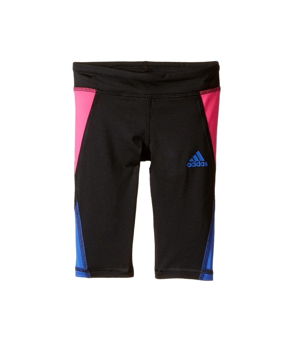 adidas Kids - Color Blocked Capri Tights (Toddler/Little Kids) (Black/Pink) Girl's Capri
