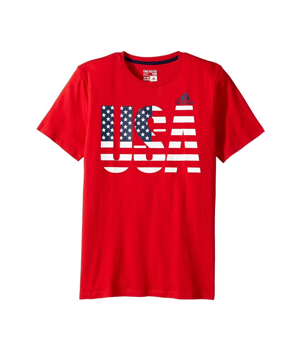 adidas Kids - USA Tee (Big Kids) (Red) Boy's T Shirt