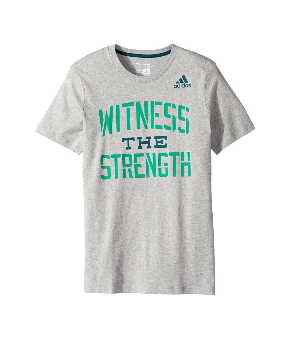adidas Kids - Witness the Strength Tee (Big Kids) (Grey) Boy's T Shirt