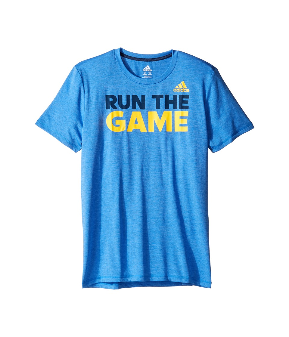 adidas Kids - Run the Game Tee (Big Kids) (Medium Blue) Boy's T Shirt