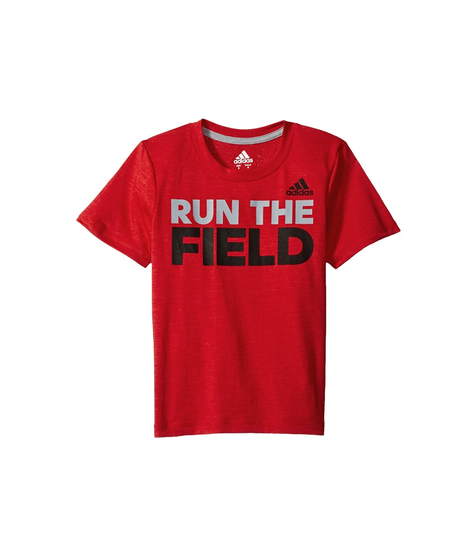 adidas Kids - Run the Game Tee (Big Kids) (Red) Boy's T Shirt
