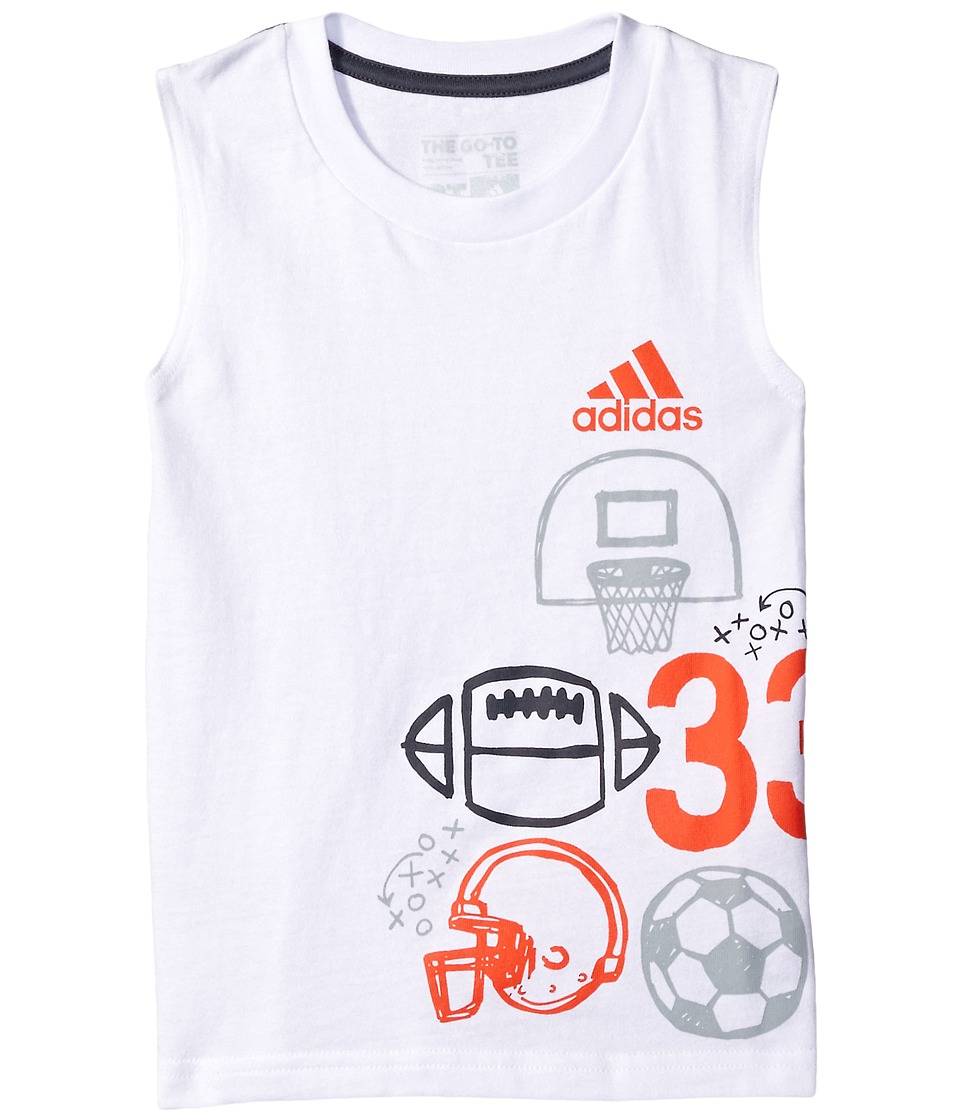 adidas Kids - Multisport Wrap Tank Top (Toddler/Little Kids) (White) Boy's Sleeveless