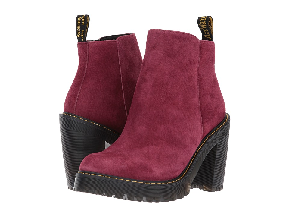 Dr. Martens Magdalena Ankle Zip Boot (Wine Soft Buck) Women