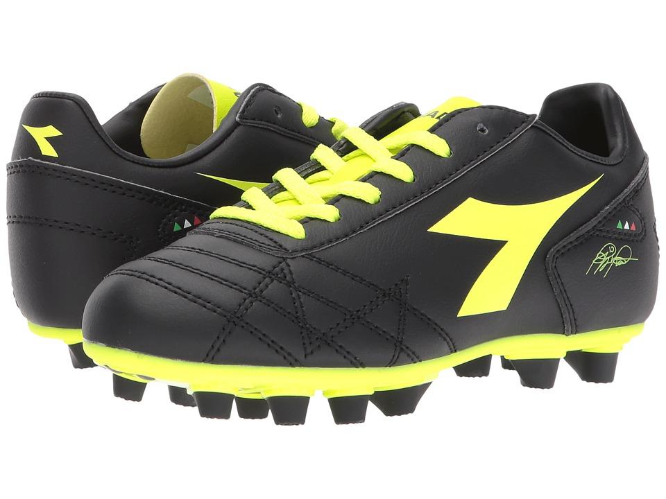 Diadora Kids M. Winner RB MDPU JR Soccer (Little Kid/Big Kid) (Black/Yellow Flou) Kids Shoes
