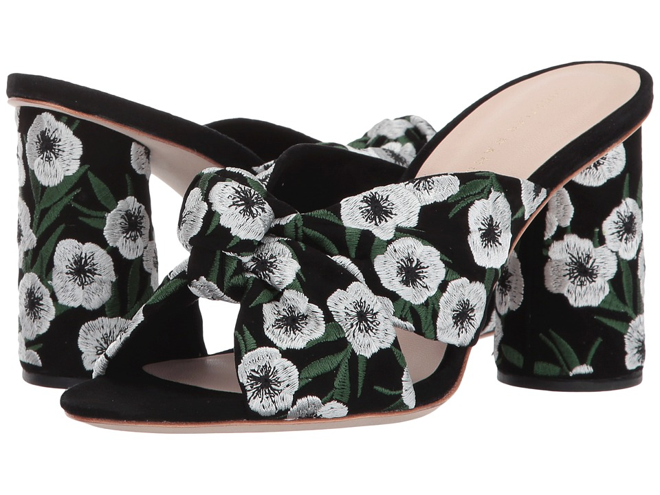 Loeffler Randall Coco (Black/Anemone Embroidered Suede) Women