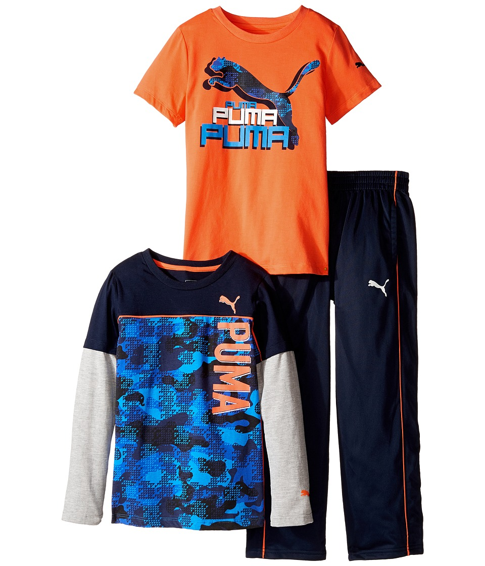 Puma Kids - Three-Piece Slider Tee and Pants Set (Little Kids/Big Kids) (Deep Navy) Boy's Active Sets