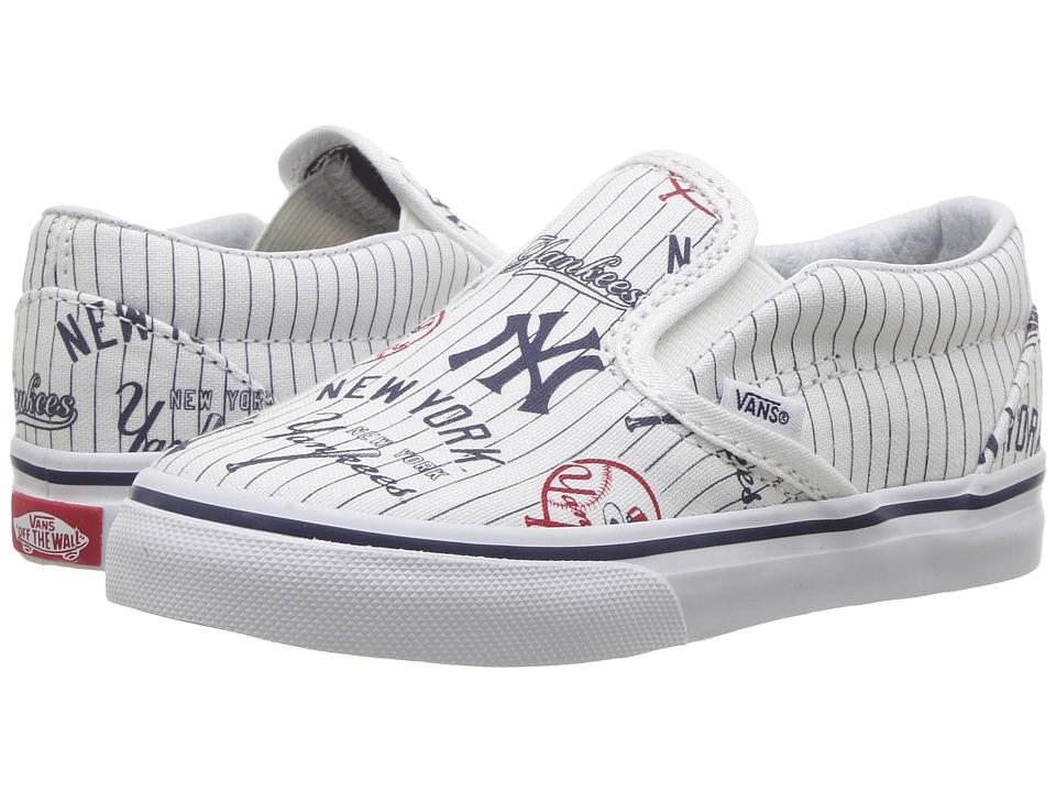 Vans Kids Classic Slip-On x MLB (Toddler) ((MLB) New York/Yankees/White) Kids Shoes
