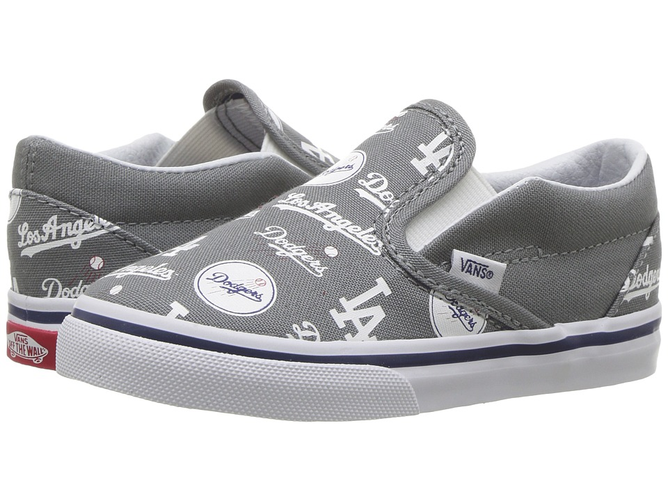 Vans Kids Classic Slip-On x MLB (Toddler) ((MLB) Los Angeles/Dodgers/Gray) Kids Shoes