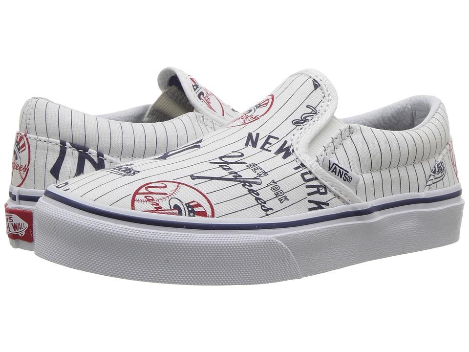 Vans Kids Classic Slip-On (Little Kid/Big Kid) ((MLB) New York/Yankees/White) Kids Shoes