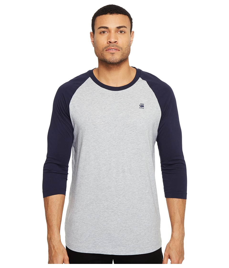 G-Star - Malizo Roundneck Tee 3/4 Sleeve (Grey Heather/Sartho Blue) Men's T Shirt
