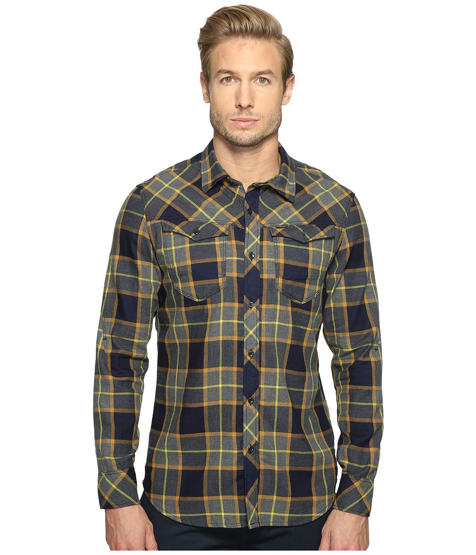 G-Star - Arc 3D Shirt Long Sleeve (Dark Indigo/Dark Gold Check) Men's Clothing