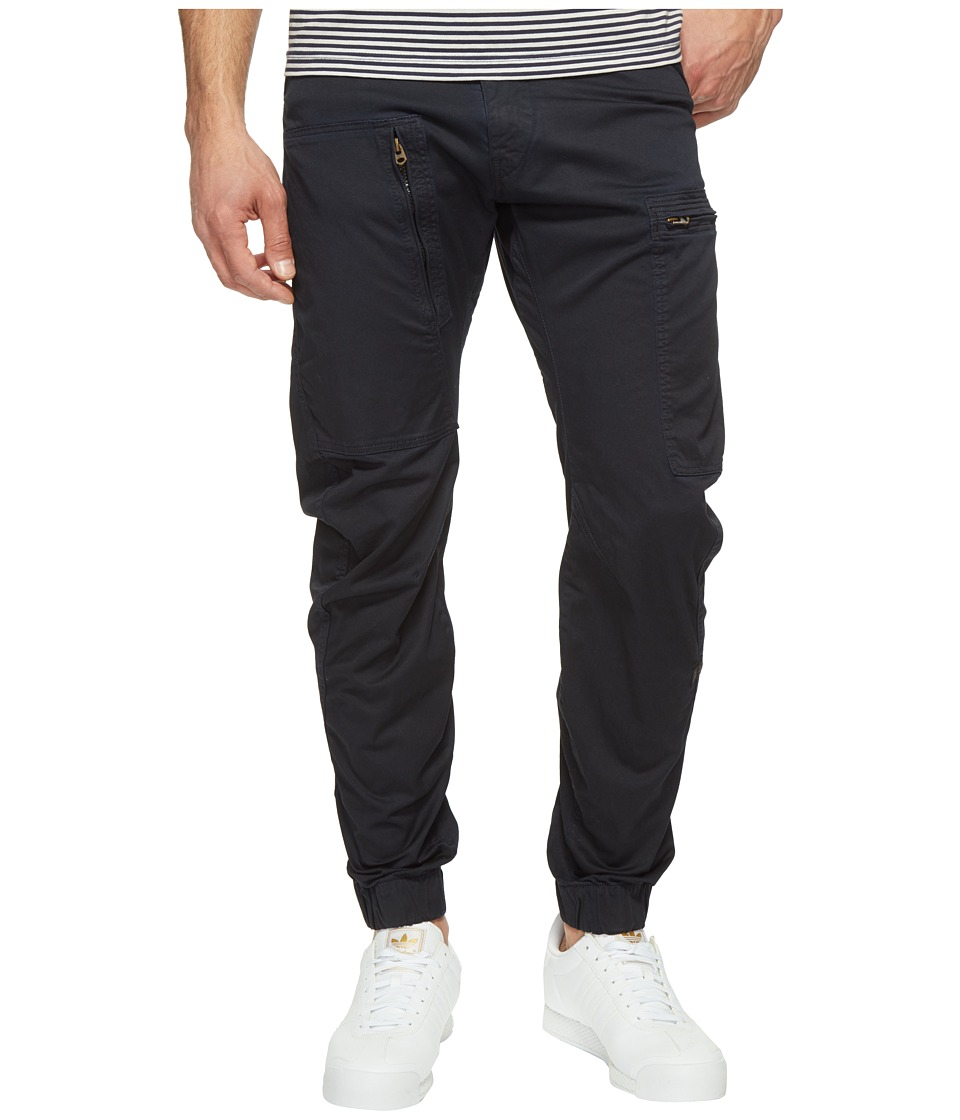 G-Star - Powel 3D Tapered Cuffed (Dark Police Blue/Mazarine Blue Overdye) Men's Casual Pants