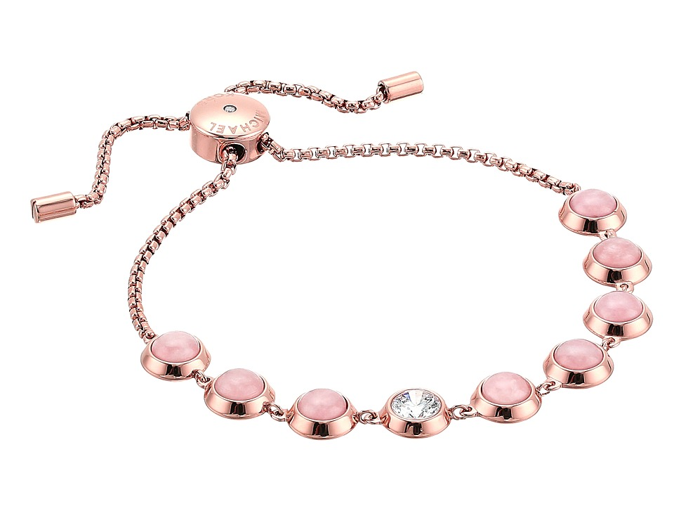 Michael Kors - Tone Crystal and Rose Quartz Slider Bracelet (Rose Gold 1) Bracelet