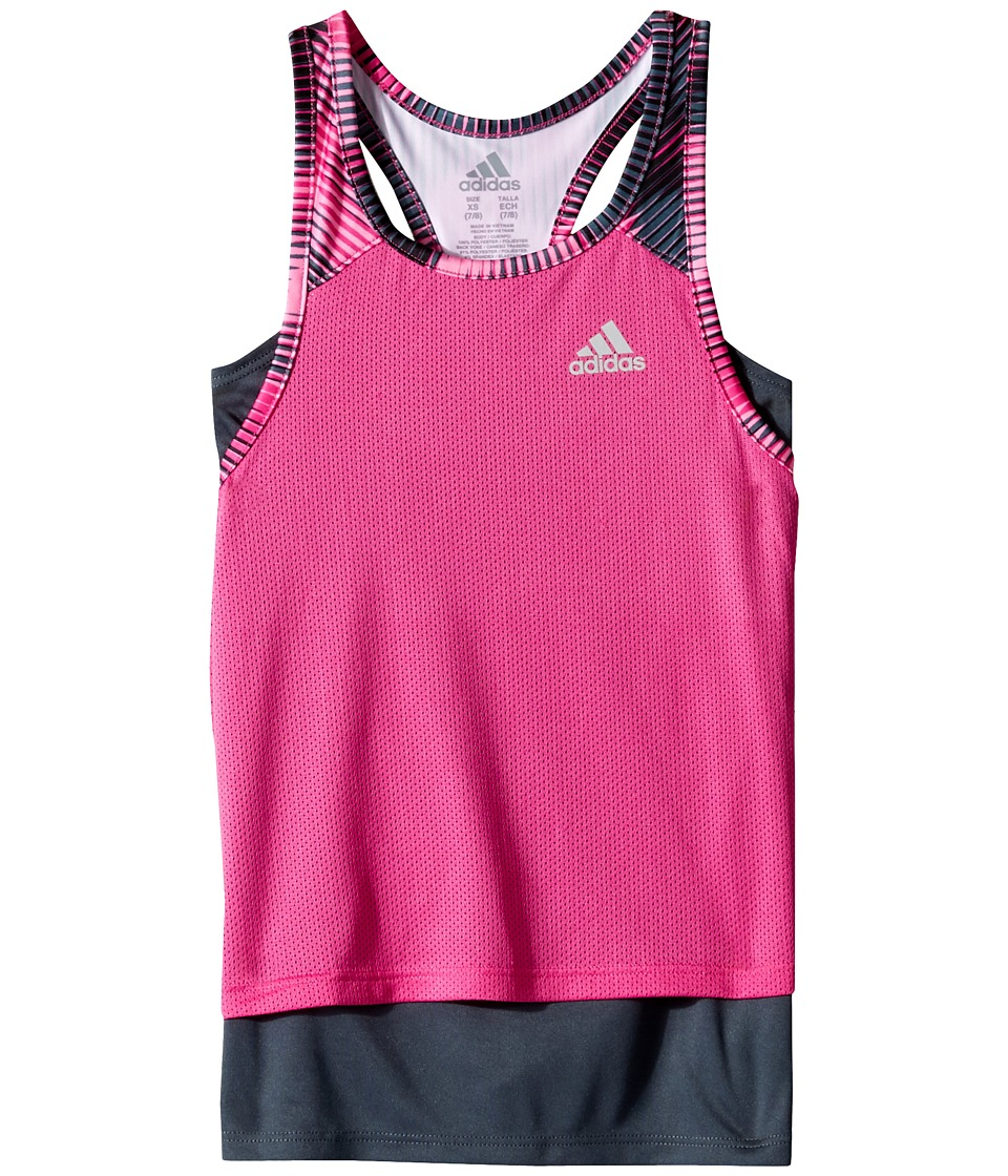 adidas Kids - Layer Up Twofer Tank Top (Big Kids) (Medium Pink) Girl's Sleeveless