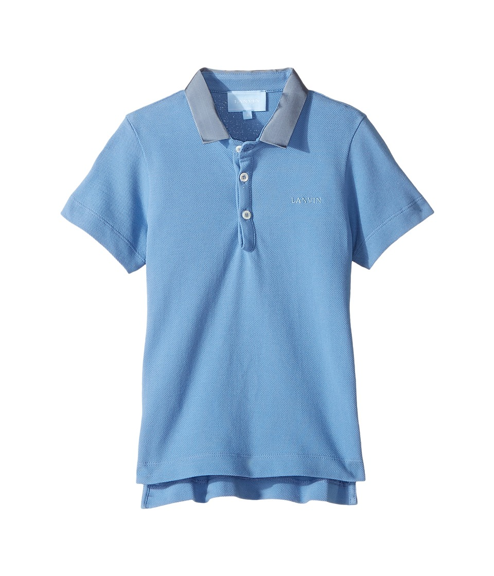 Lanvin Kids - Short Sleeve Polo Shirt w/ Contrast Collar Logo Detail (Toddler/Little Kids) (Light Blue) Boy's Short Sleeve Pullover