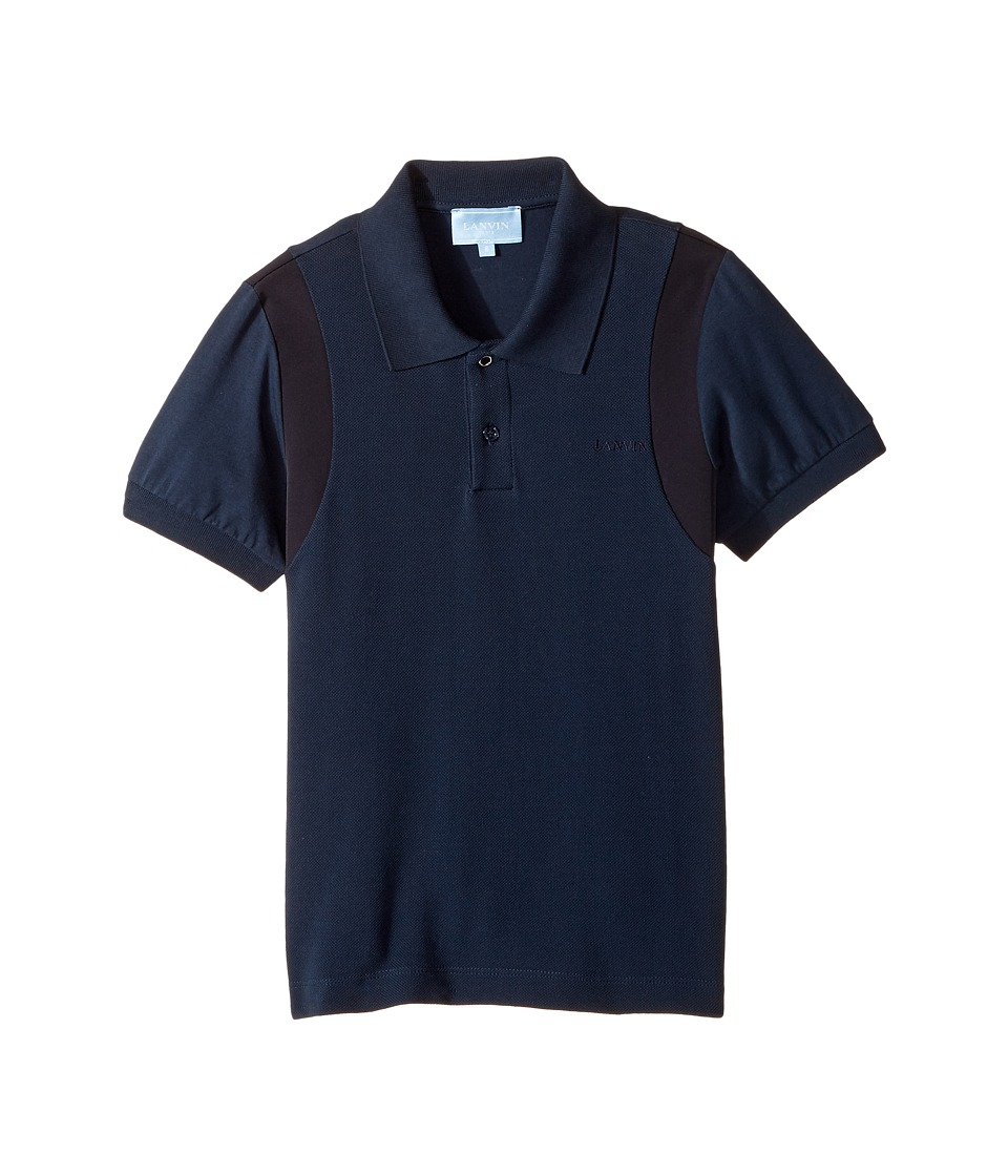 Lanvin Kids - Short Sleeve Polo w/ Logo Detail On Front (Little Kids/Big Kids) (Navy) Boy's Short Sleeve Pullover