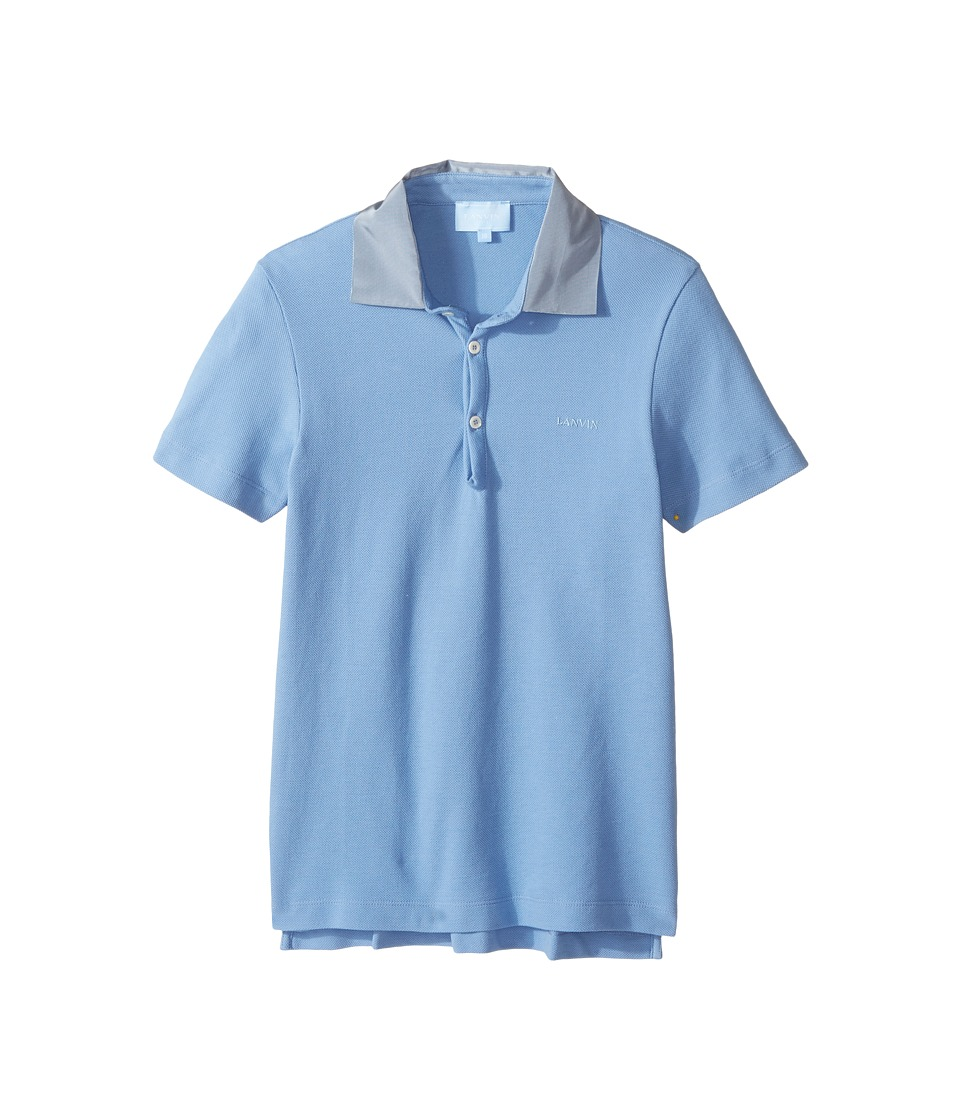 Lanvin Kids - Short Sleeve Polo Shirt w/ Contrast Collar Logo Detail (Big Kids) (Light Blue) Boy's Short Sleeve Pullover