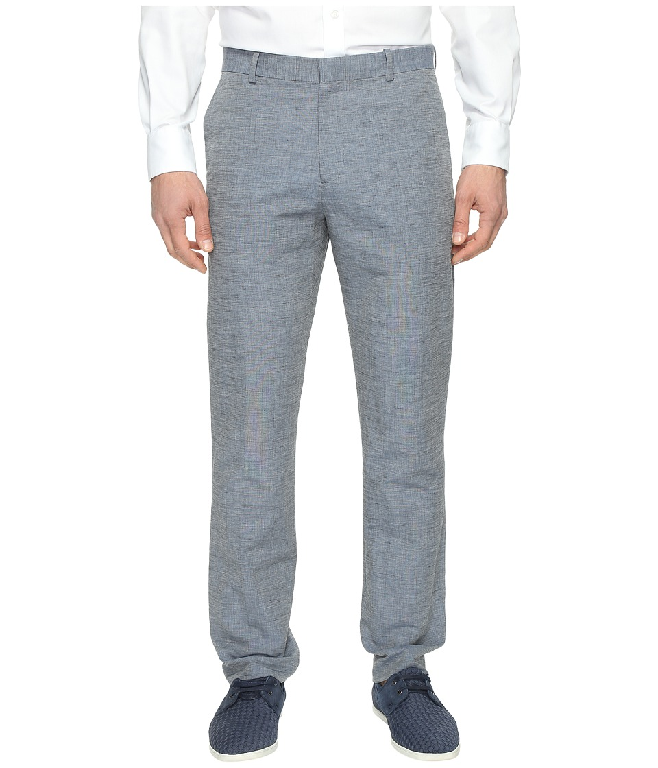 Perry Ellis - Slim Fit Linen Cotton End on End Dress Pants (Bijou Blue) Men's Dress Pants