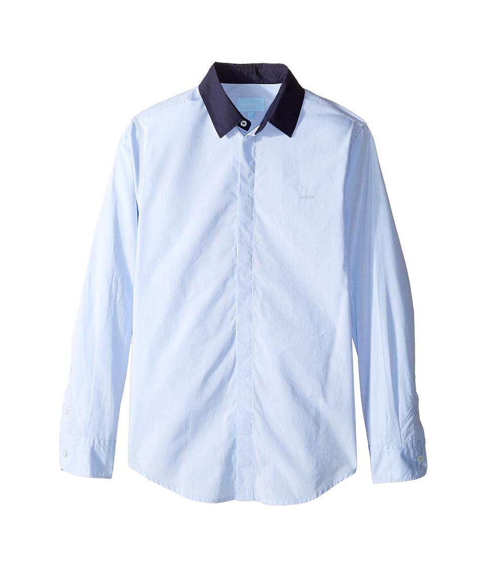 Lanvin Kids - Long Sleeve Button Down Shirt w/ Contrast Collar (Big Kids) (Blue/Navy) Boy's Long Sleeve Button Up