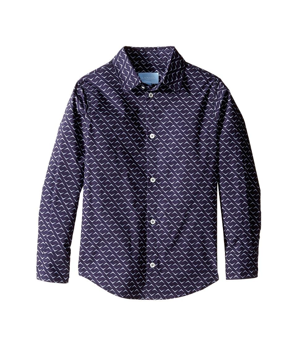 Lanvin Kids - All Over Print Long Sleeve Button Up Shirt (Little Kids/Big Kids) (Navy/Multi) Boy's Long Sleeve Button Up