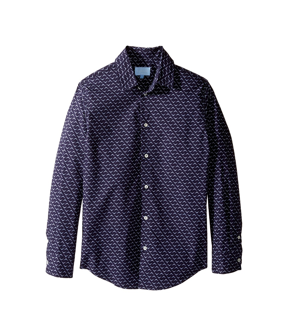 Lanvin Kids - All Over Print Long Sleeve Button Up Shirt (Big Kids) (Navy/Multi) Boy's Long Sleeve Button Up
