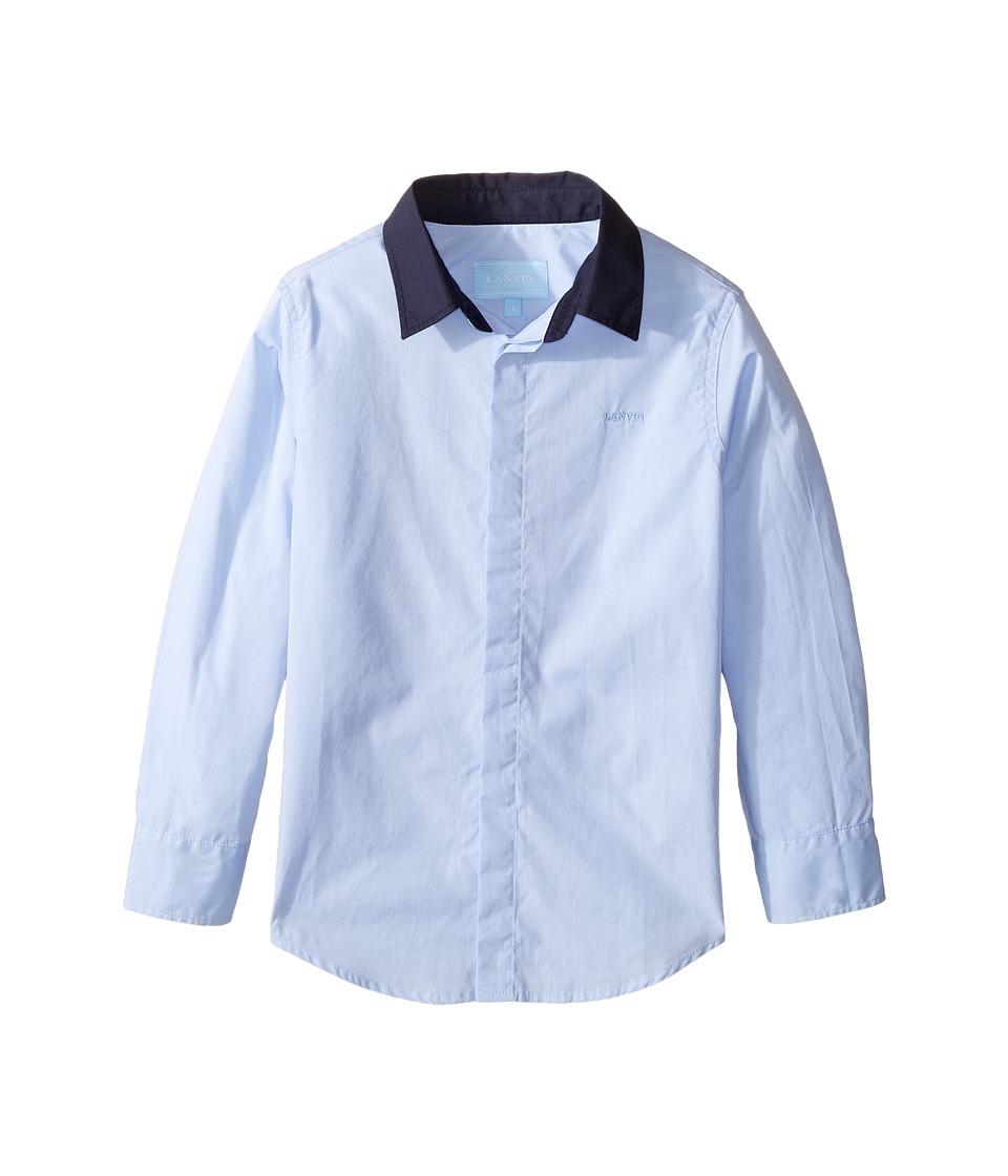 Lanvin Kids - Long Sleeve Button Down Shirt w/ Contrast Collar (Toddler/Little Kids) (Blue/Navy) Boy's Long Sleeve Button Up
