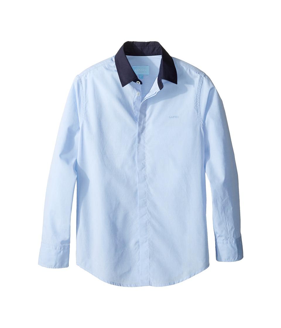 Lanvin Kids - Long Sleeve Button Down Shirt w/ Contrast Collar (Little Kids/Big Kids) (Blue/Navy) Boy's Long Sleeve Button Up