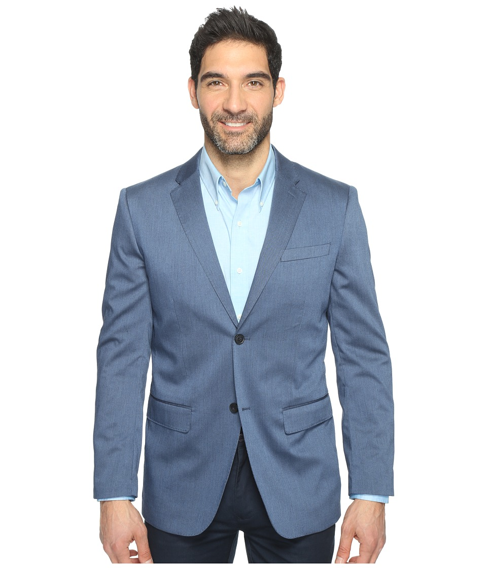 Perry Ellis - Regular Fit Stretch Heather Twill Suit Jacket (Bay Blue) Men's Coat