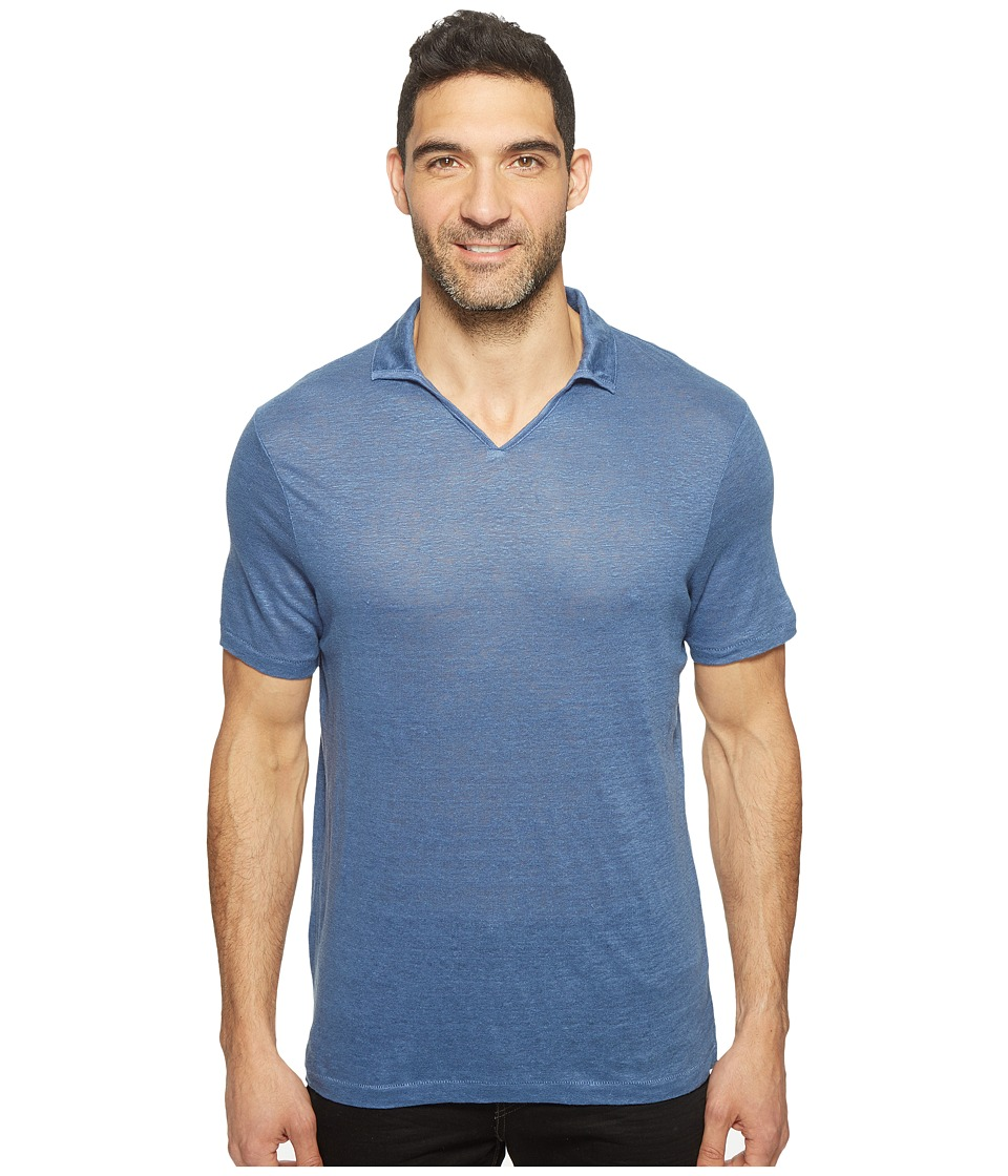 Perry Ellis - Solid Linen Open Collar Polo Shirt (Bijou Blue) Men's Clothing