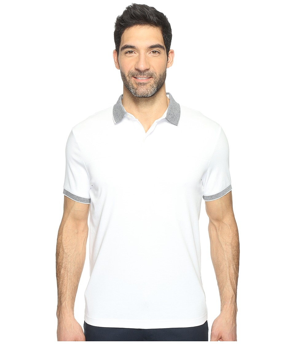 Perry Ellis - Solid Interlocked Pima Cotton Polo Shirt (True White) Men's Clothing