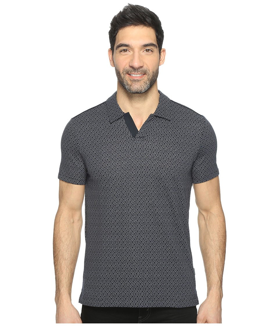 Perry Ellis - Travel Luxe Jacquard Open Collar Polo Shirt (Dark Sapphire) Men's Clothing