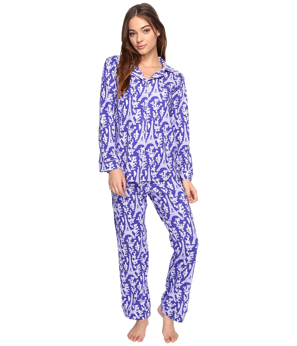BedHead - Long Sleeve Classic Pajama Set (Blue Eiffel Tower) Women's Pajama Sets