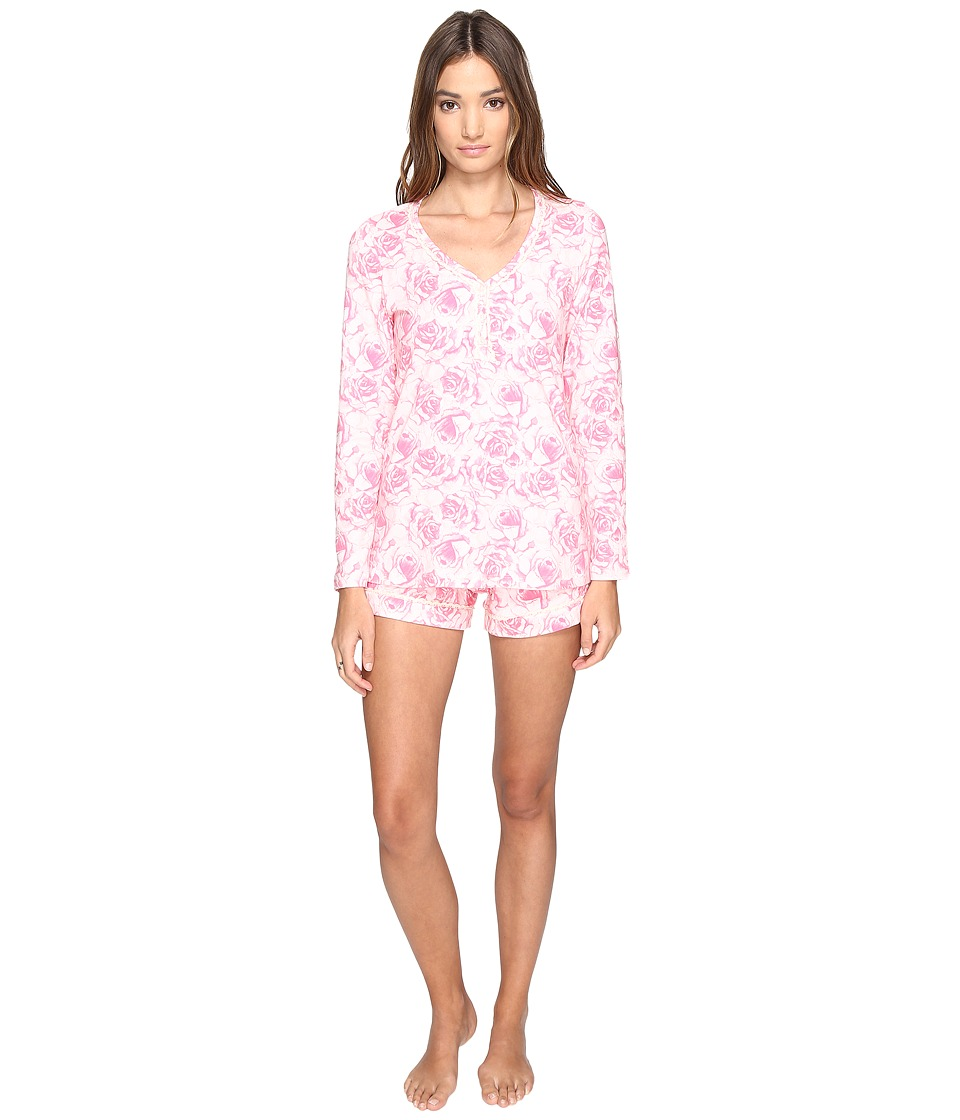 BedHead - Long Sleeve Sweetheart Short Set (Bed of Roses) Women's Pajama Sets