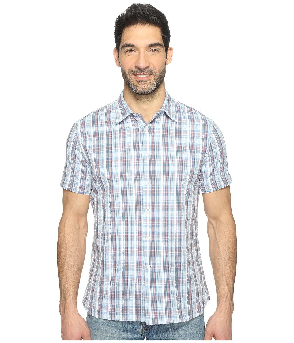 Perry Ellis Short Sleeve Plaid Print Shirt (Kentucky Blue) Men