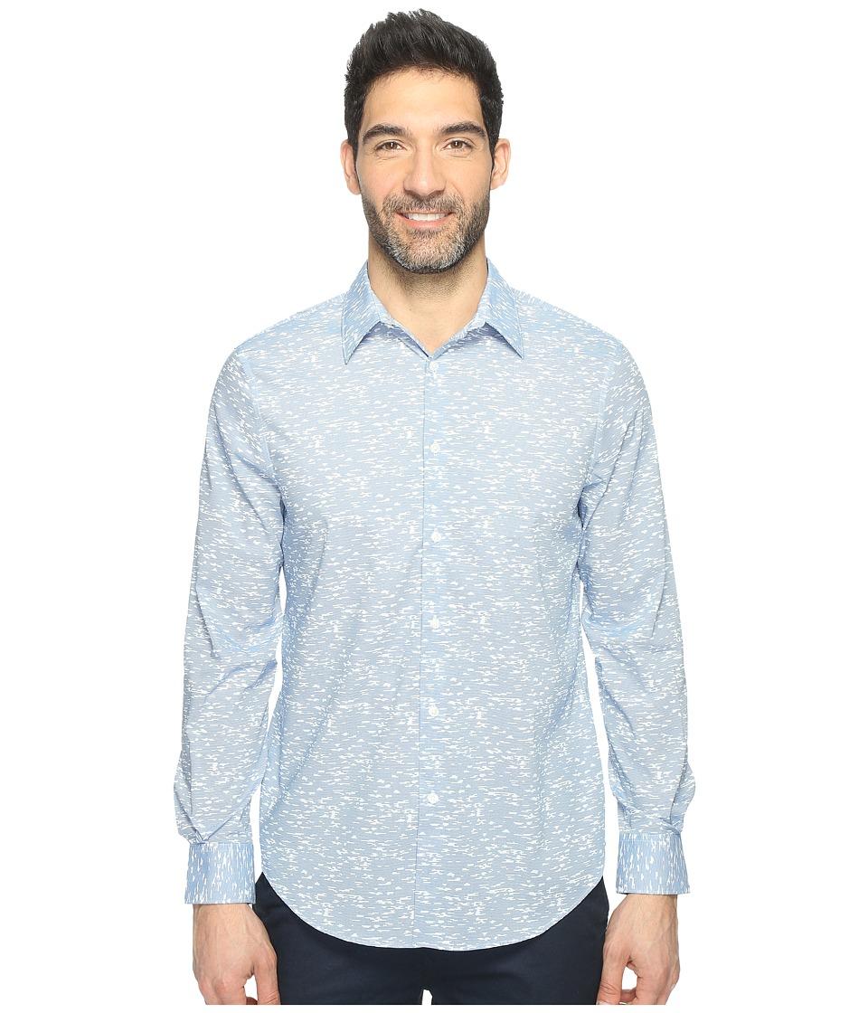 Perry Ellis - Long Sleeve Graphic Linear Print Shirt (Dark Cendre Blue) Men's Clothing