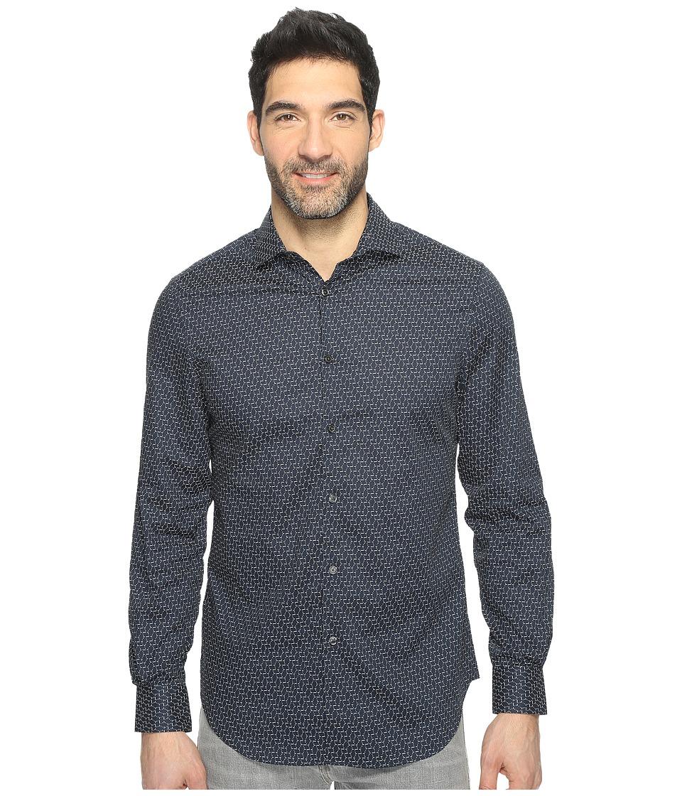 Perry Ellis - Long Sleeve Modern Geo Print Shirt (Eclipse) Men's Clothing