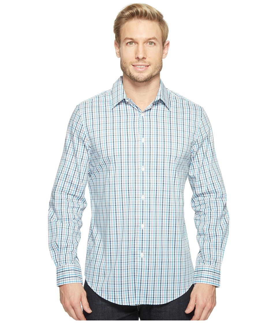 Perry Ellis - Long Sleeve Multicolor Check Shirt (Bright White) Men's Clothing