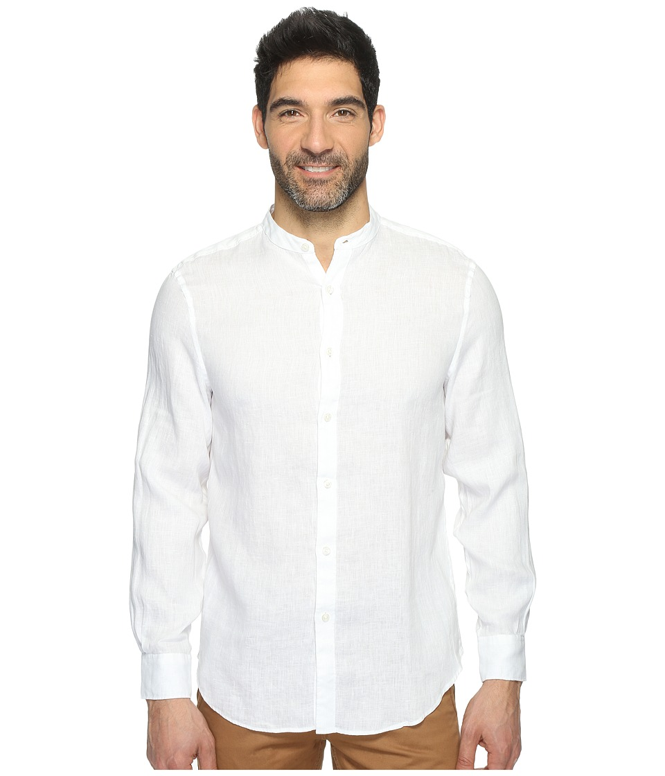 Perry Ellis - Long Sleeve Solid Banded Collar Linen Shirt (Bright White) Men's Clothing