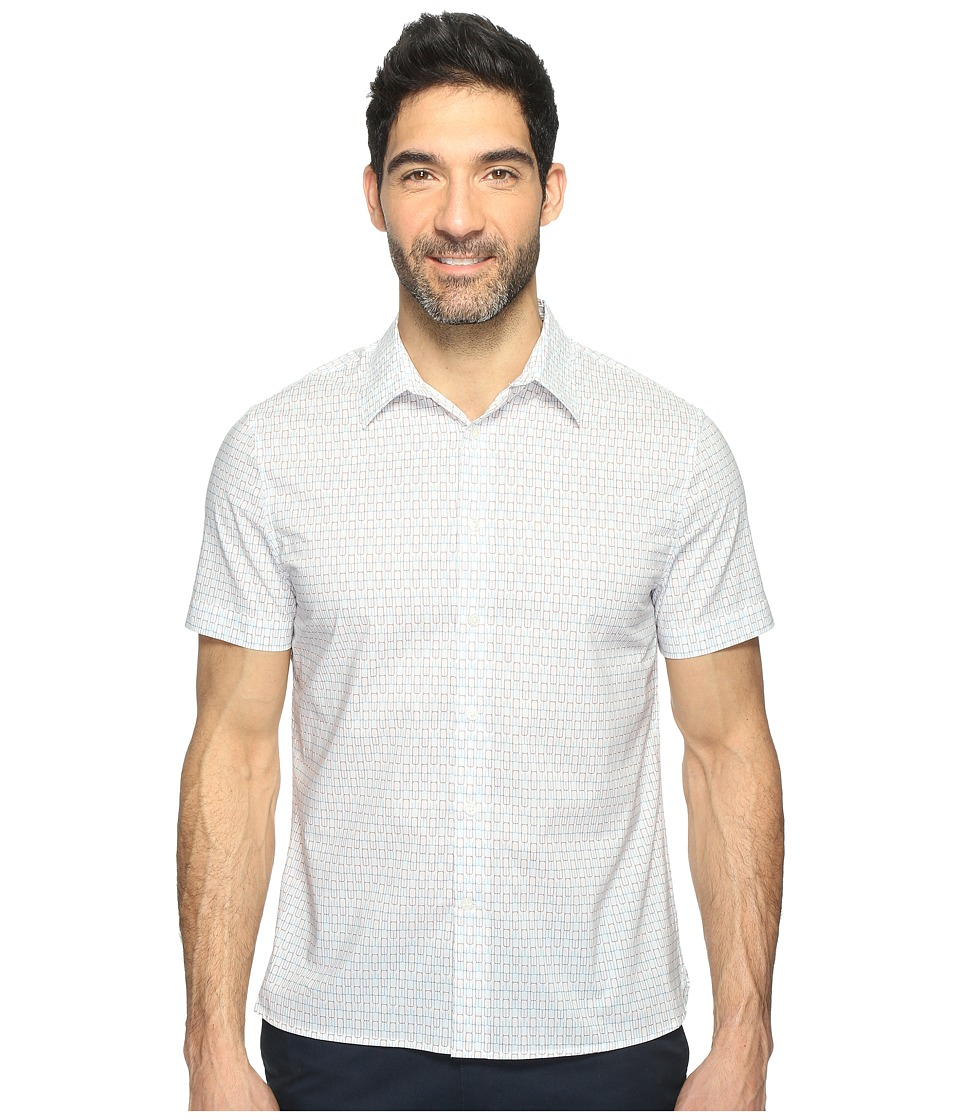 Perry Ellis - Short Sleeve Modern Geo Print Shirt (Bright White) Men's Clothing