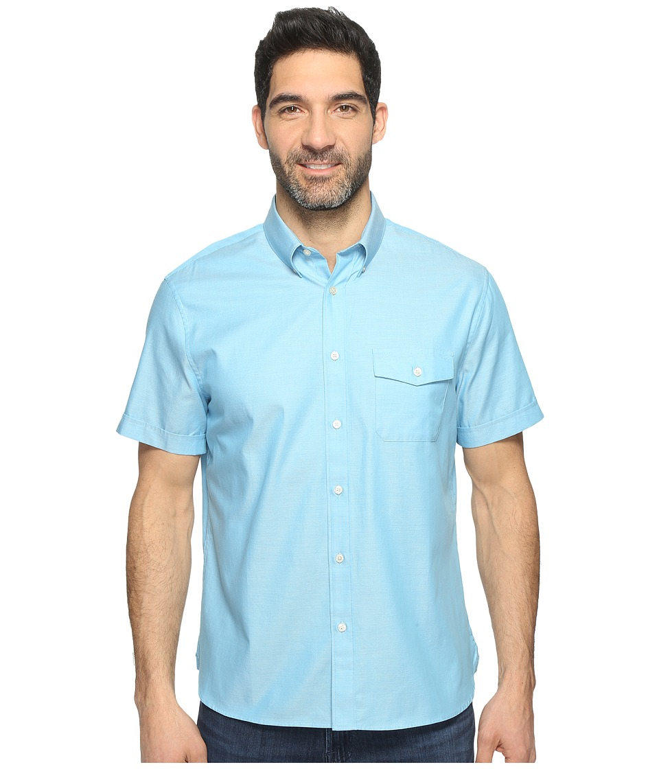 Perry Ellis - Solid Textured Oxford Single Pocket Shirt (Centre Blue) Men's Clothing