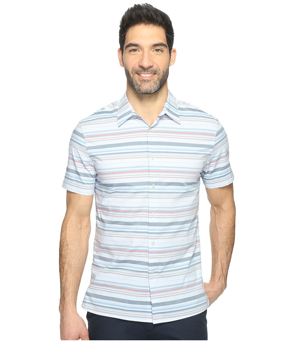 Perry Ellis - Multi Horizontal Stripe Shirt (Kentucky Blue) Men's Clothing