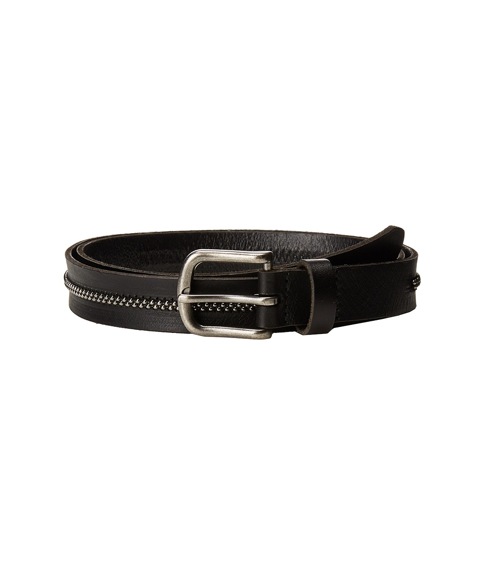 Scotch & Soda Leather Belt w/ Embossed Buckle (Black) Men