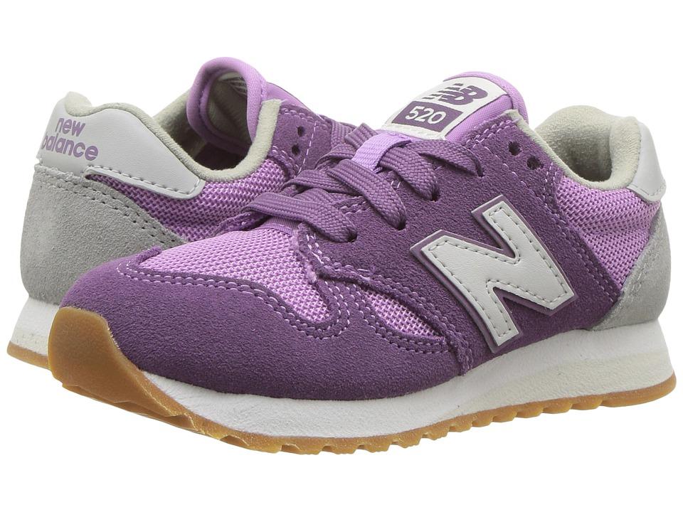New Balance Kids 520v1 (Little Kid/Big Kid) (Purple/White) Girls Shoes