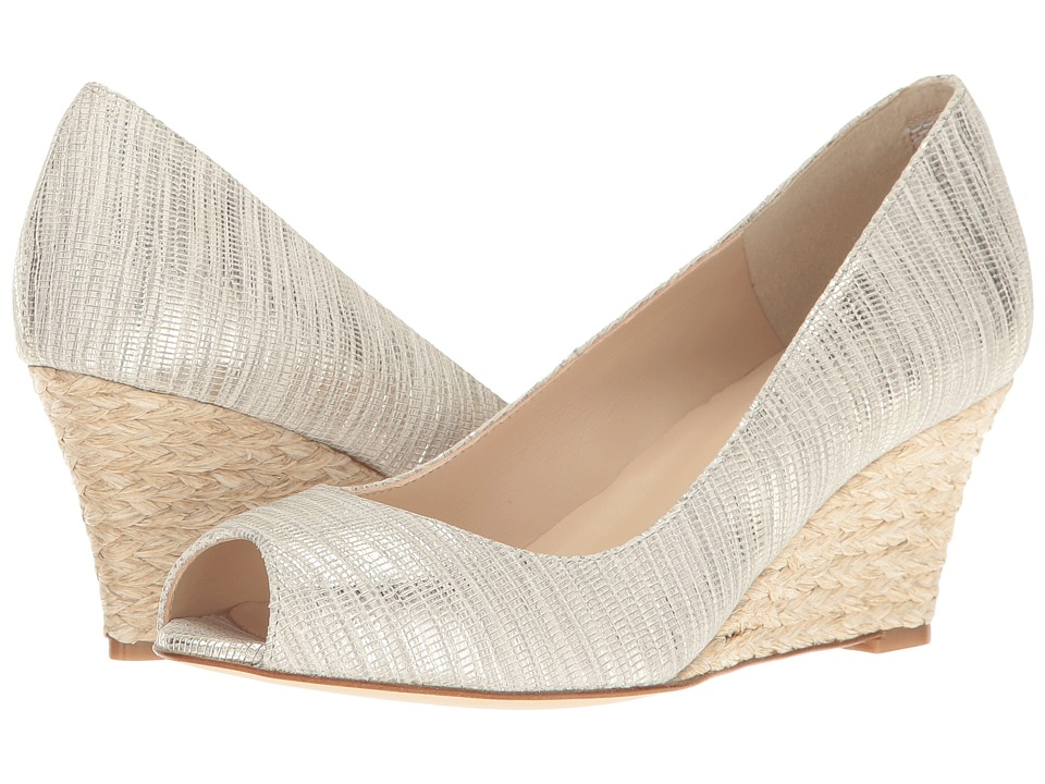 L.K. Bennett - Zelita (Cream Striped Metallic Lizard) Women's Wedge Shoes