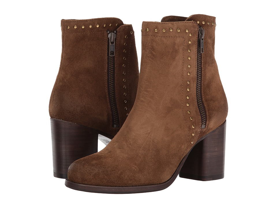 Frye Addie Stud Double Zip (Chestnut Soft Oiled Suede) Women