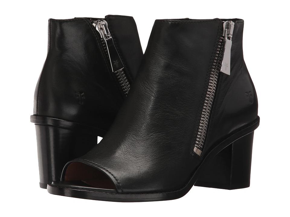 Frye Brielle Zip Peep Bootie (Black Polished Soft Full Grain) Women